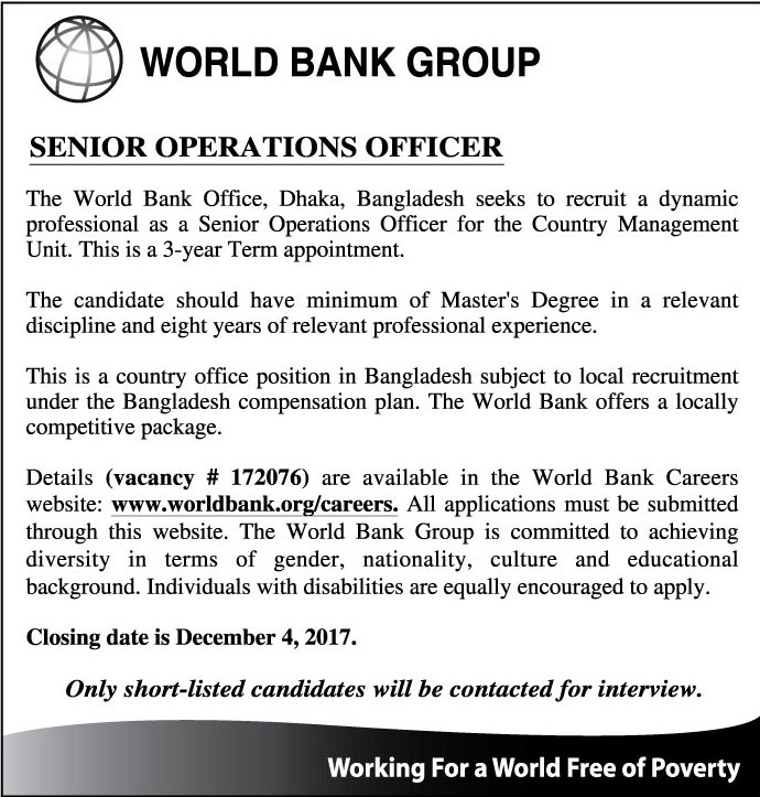 World Bank Job Circular 2017