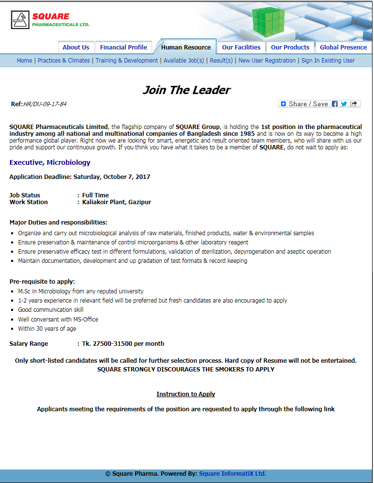 square pharmaceuticles limited Learn about working at square pharmaceuticals limited join linkedin today for free see who you know at square pharmaceuticals limited, leverage your professional.