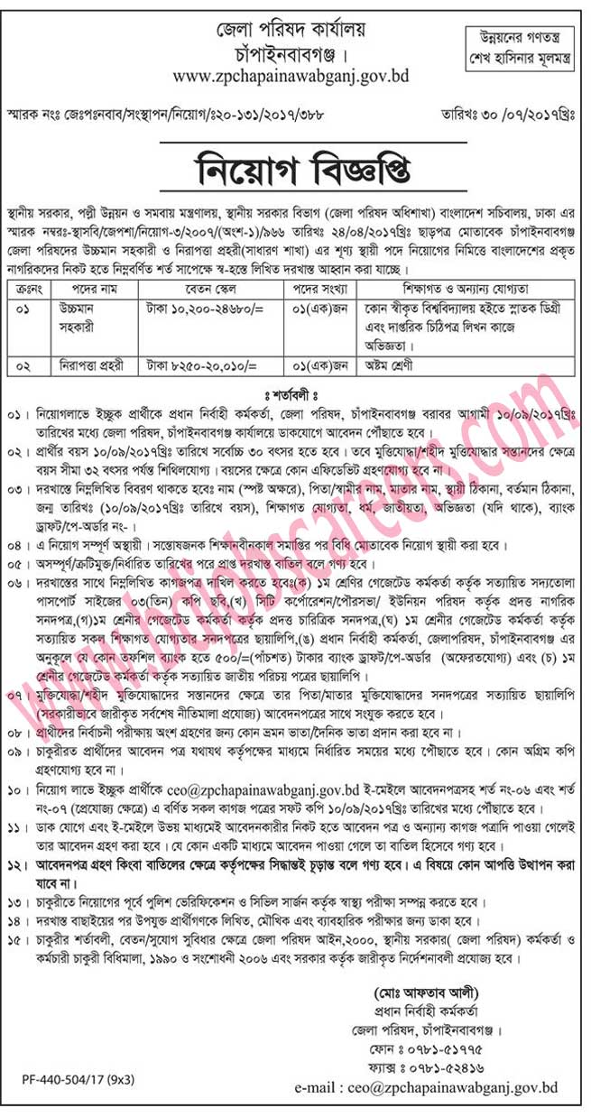 Chapainawabganj District Council Office Job Circular 2017