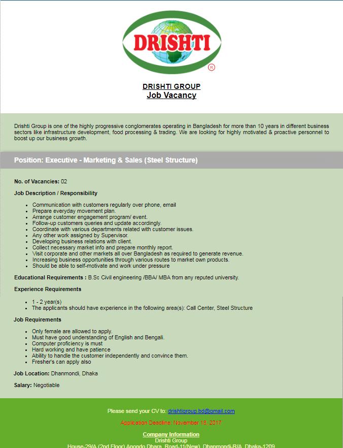 Drishti Group Job Circular 2017