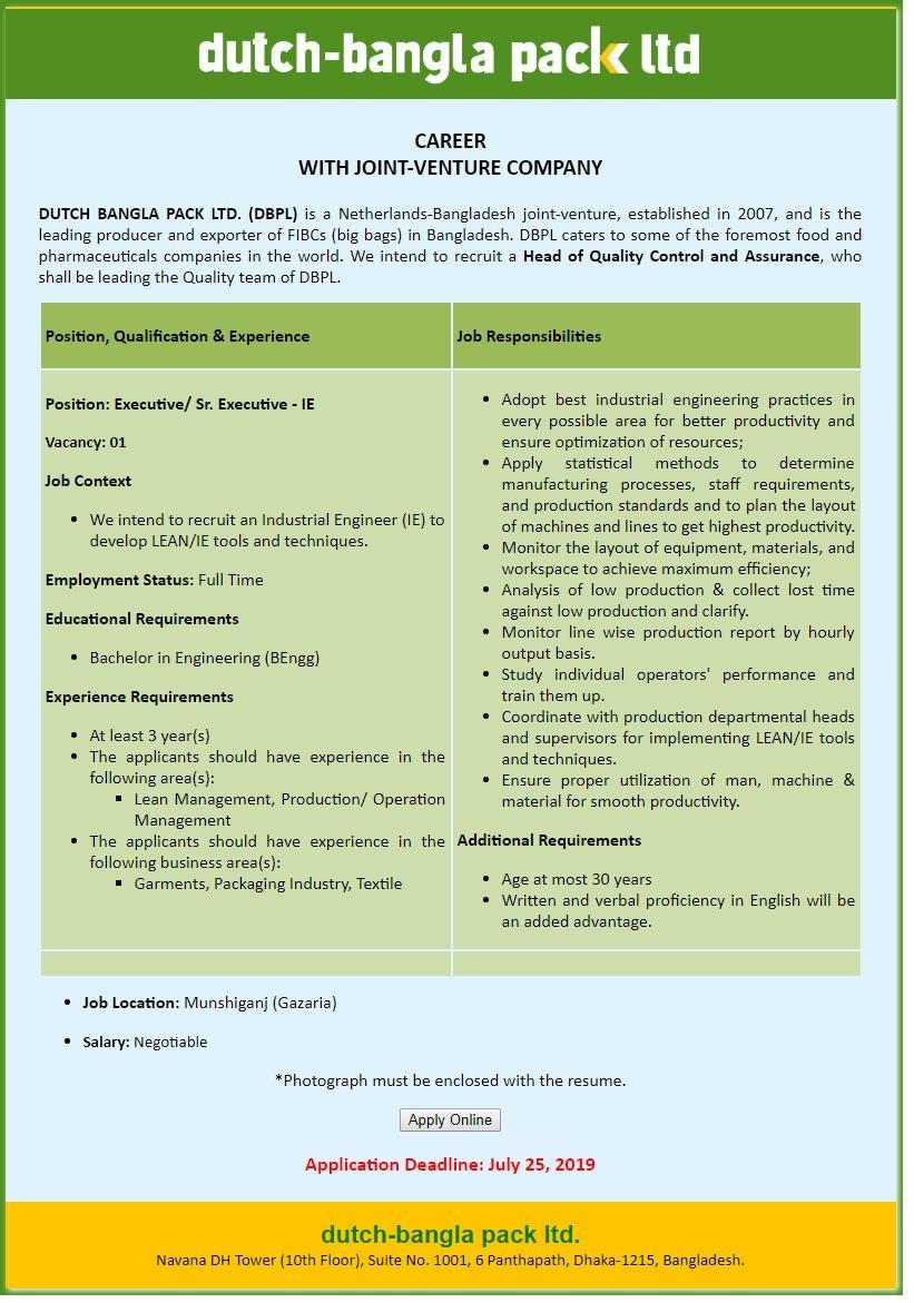 Dutch-Bangla Pack Ltd (DBPL) Job Circular 2019