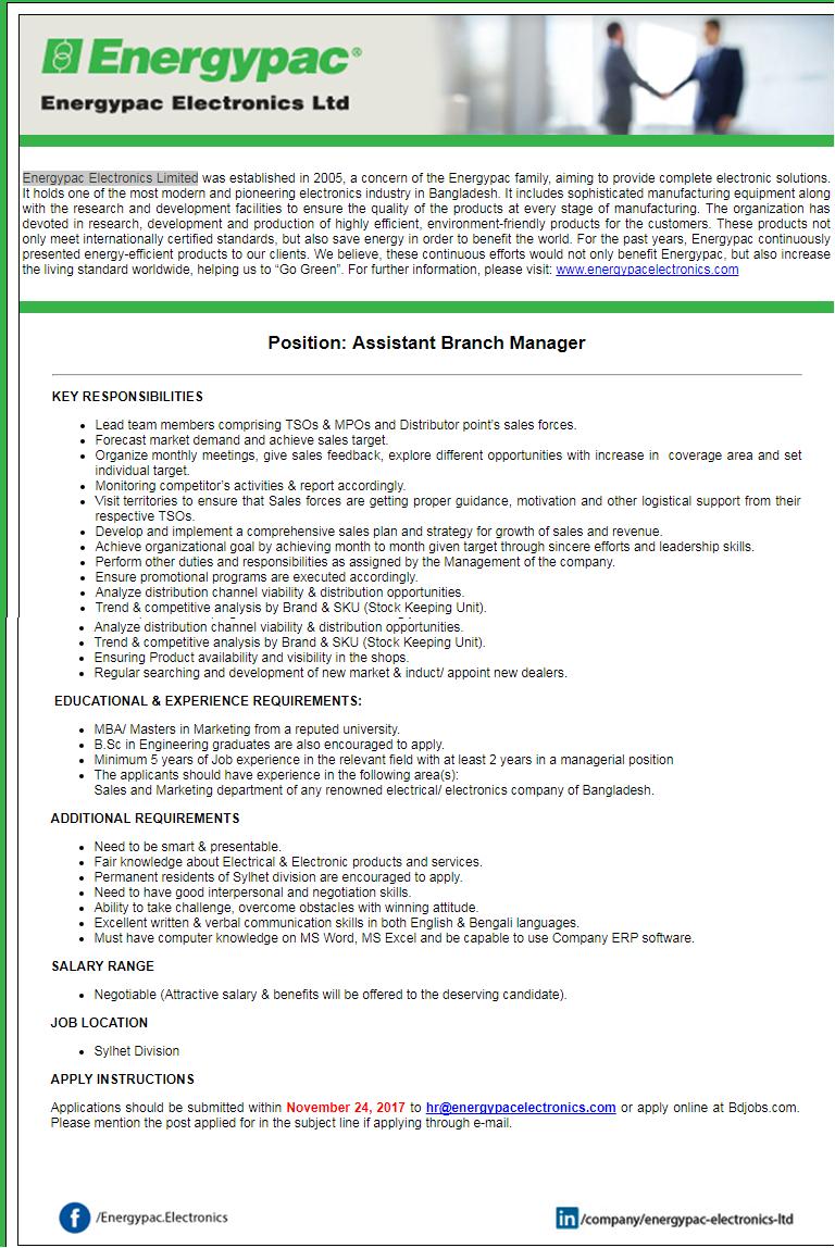 Energypac Electronics Limited Job Circular 2017