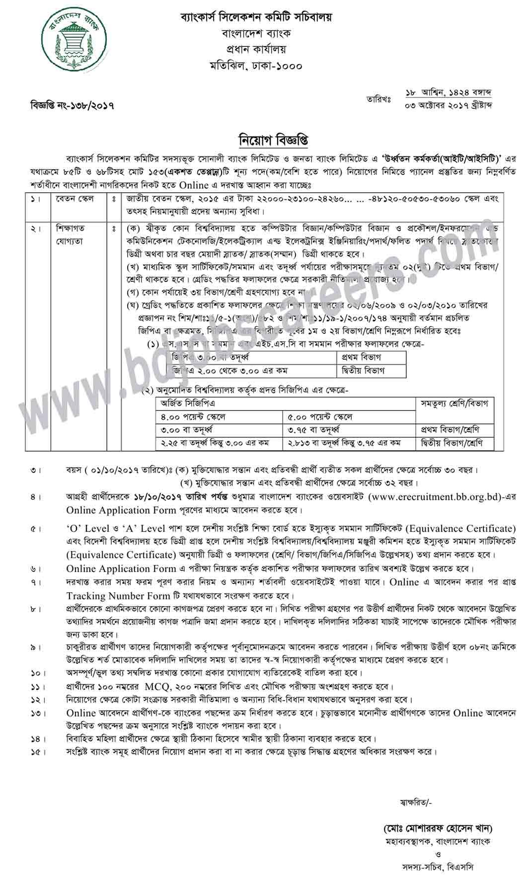 Janata Bank Job Circular 2017Janata Bank Job Circular 2017