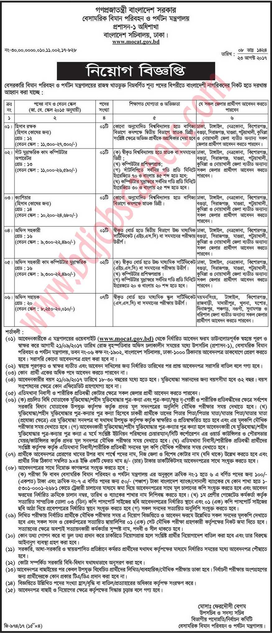 Ministry of Civil Aviation and Tourism Job Circular 2017