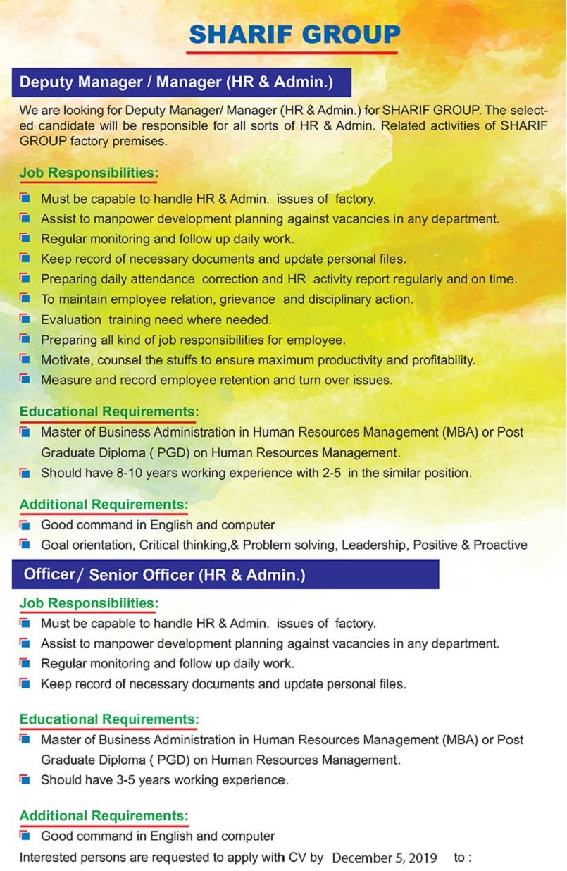 Sharif Home Appliance Job Circular 2019