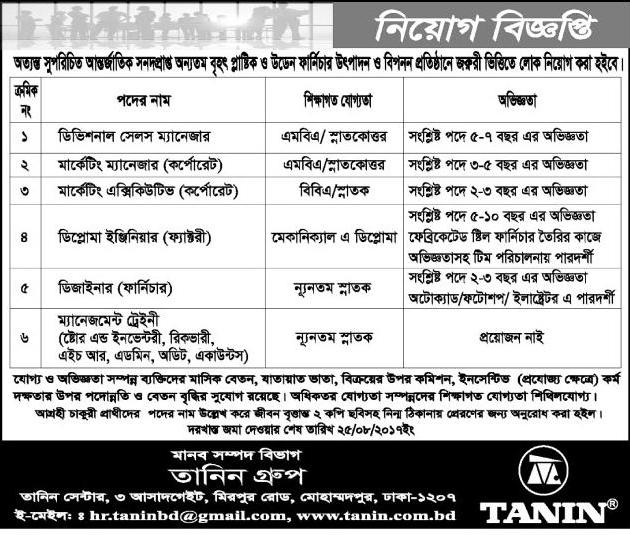 Tanin Group Job Circular 2017