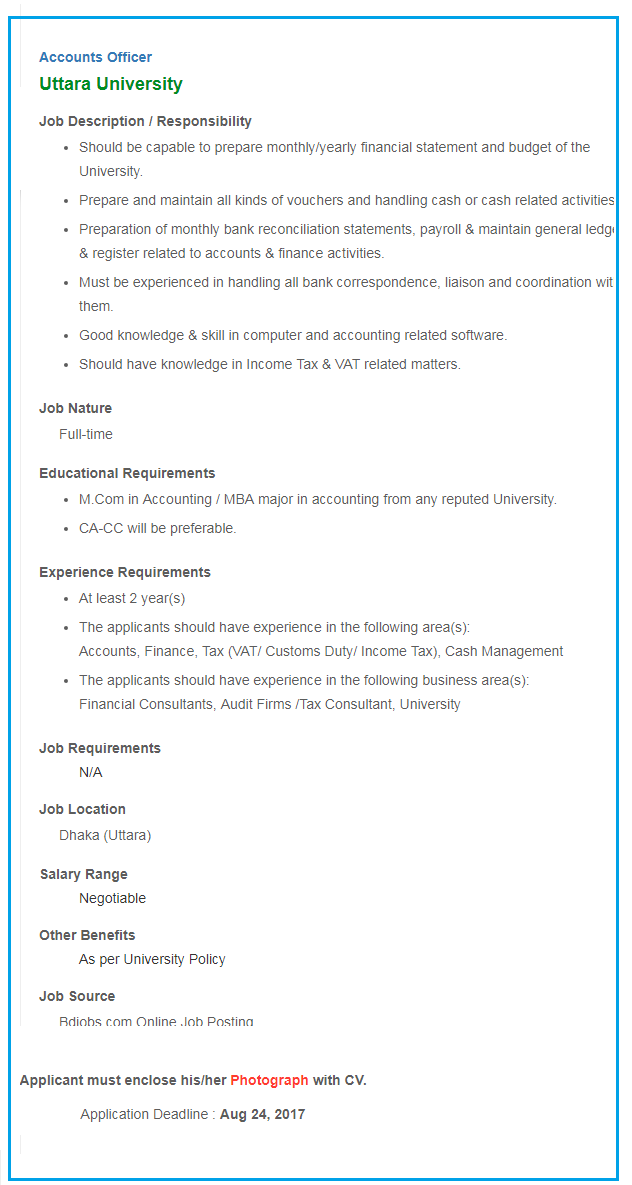 Uttara University Job Circular 2017