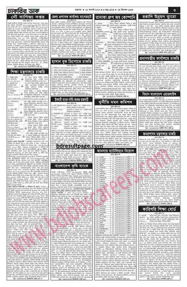 Weekly Job Newspaper 18th August 2017 Saptahik Chakrir Khobor