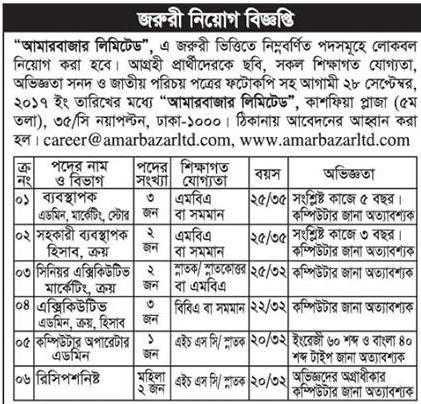 Amar Bazar limited Job Circular 2017