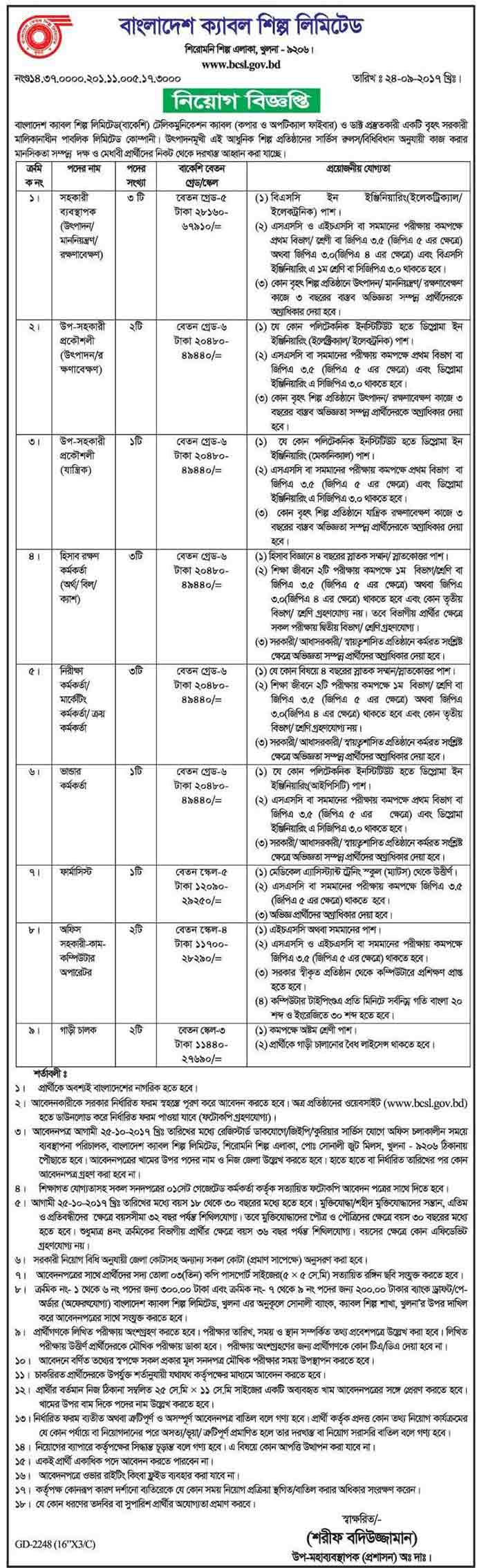 Bangladesh-Cable-Shilpa-Limited-Job-Circular-2017