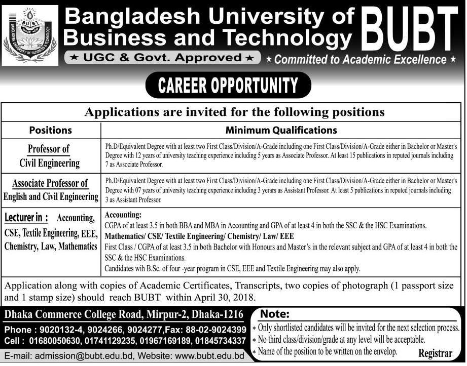 Bangladesh University of Business & Technology BUBT Job Circular 2018