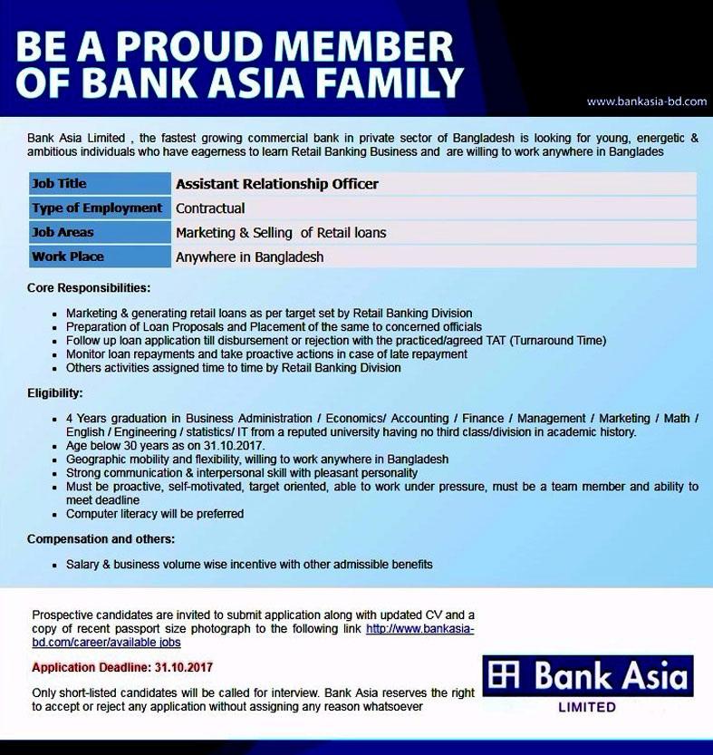 Bank Asia Limited Job Circular 2017 2