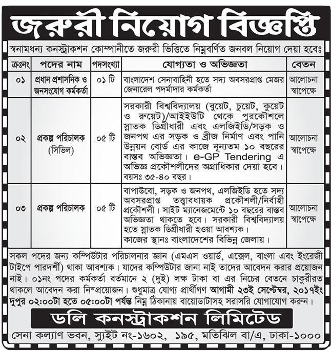 Dolly Construction Limited Job Circular 2017