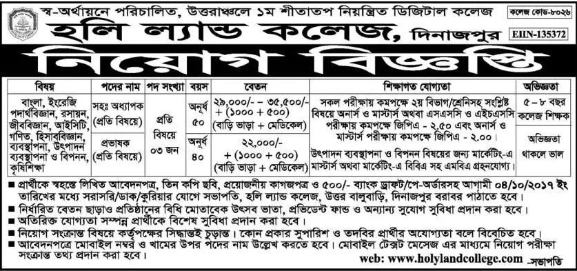 Holy Land College Dinajpur Job Circular 2017