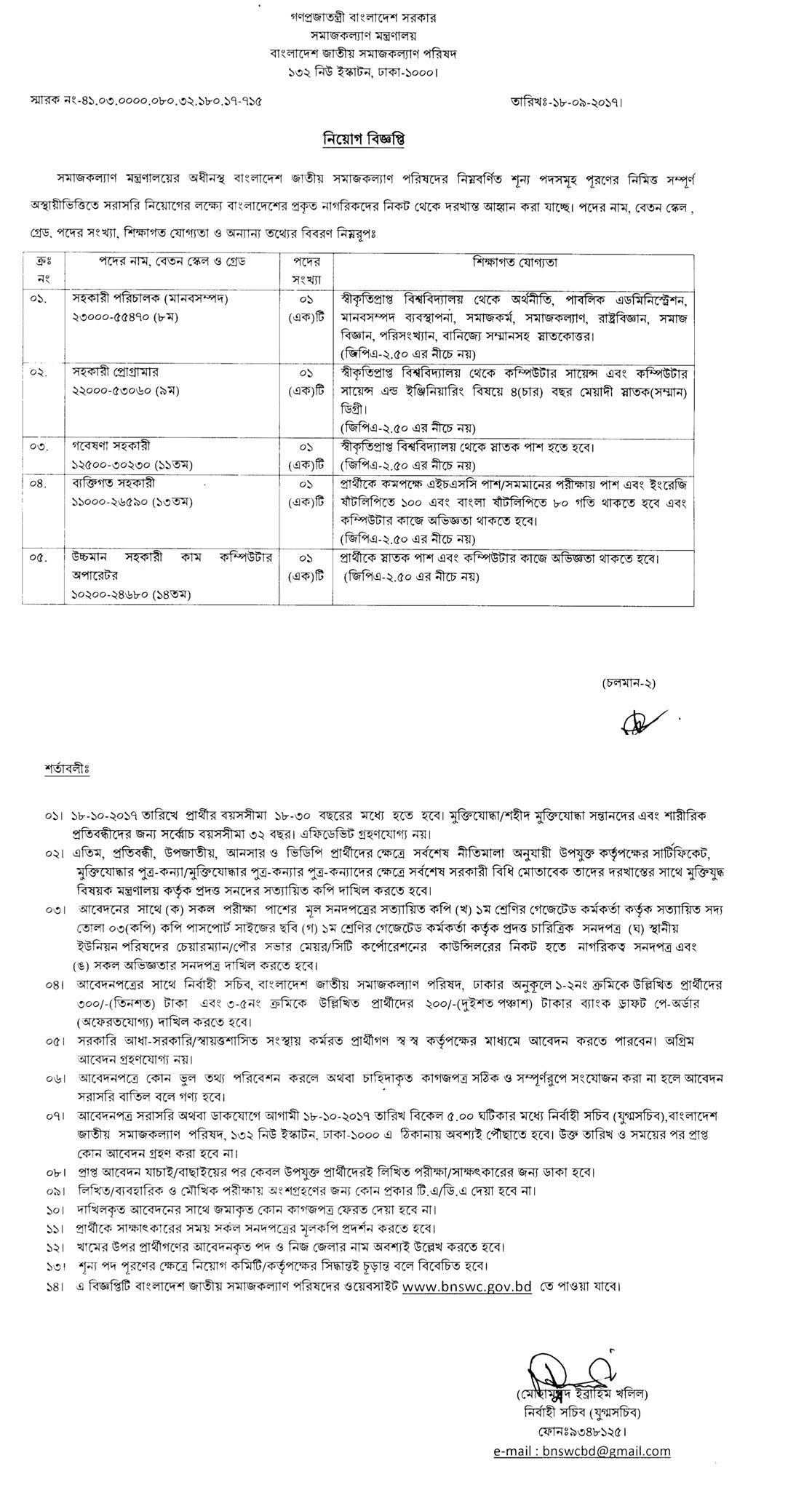 Ministry of Social Welfare (Bangladesh) Job Circular 2017