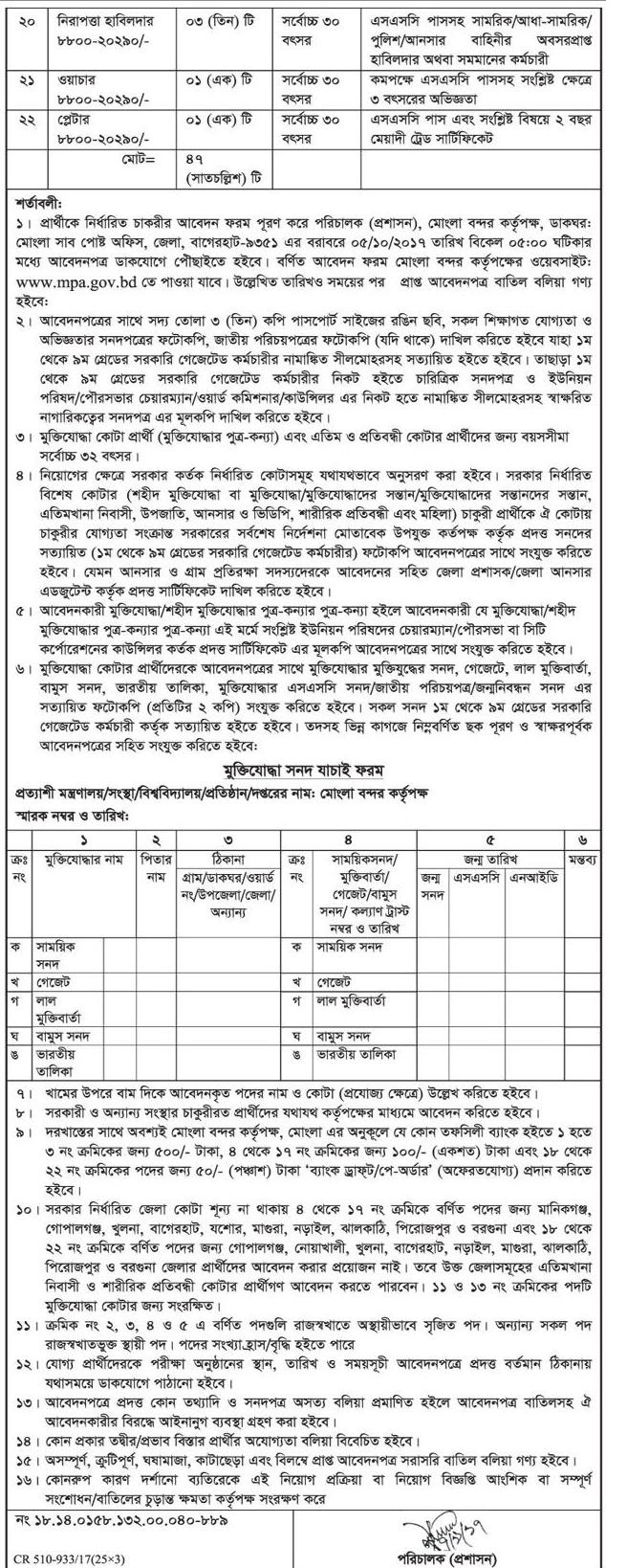 Mongla Port Authority Job Circulars 2017