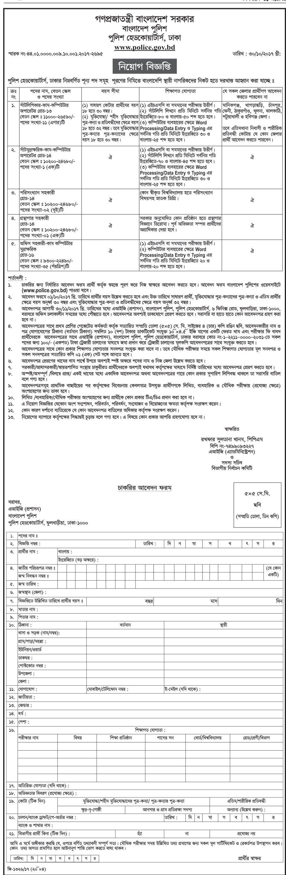 Bangladesh Police New Job Opportunity 2017
