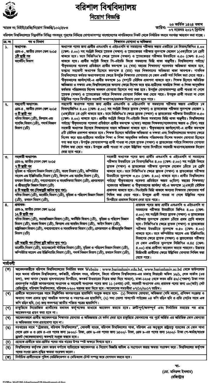Barisal University Job Circular 2017
