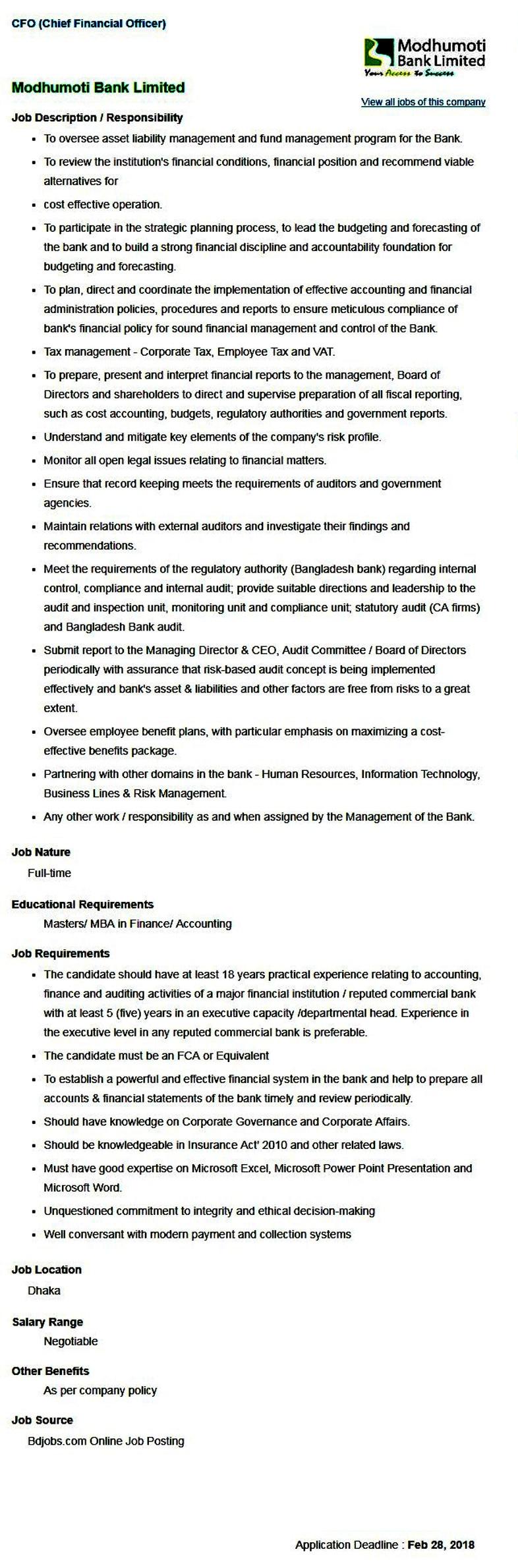 Modhumoti Bank Jobs Circular 2018