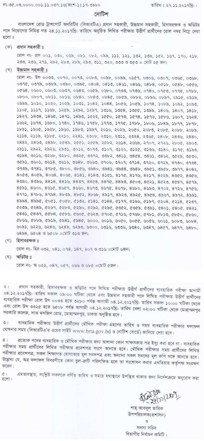 BTRC Written Exam Result & Viva Date 2017