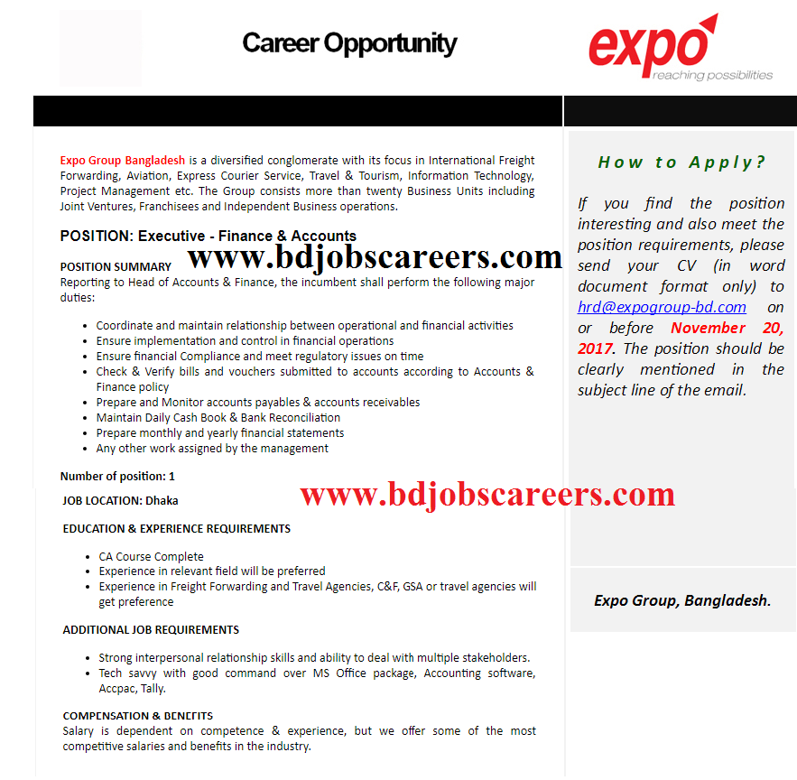 Expo Group Bangladesh Job Circular 2017