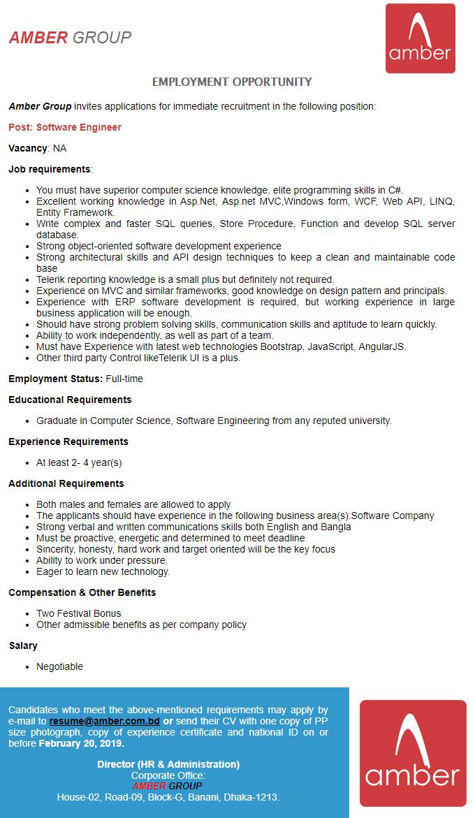 Amber Group Job Circular 2019 | BD Jobs Careers
