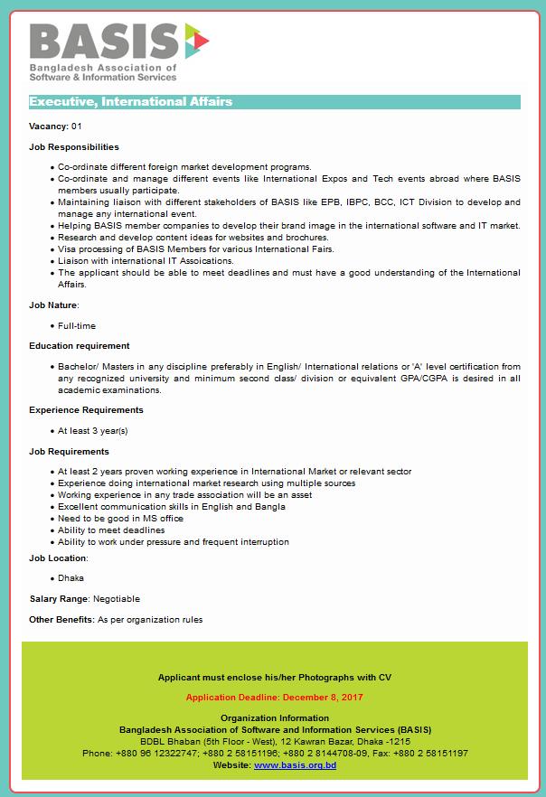 Bangladesh Association of Software and Information Services (BASIS) Job Circular 2017