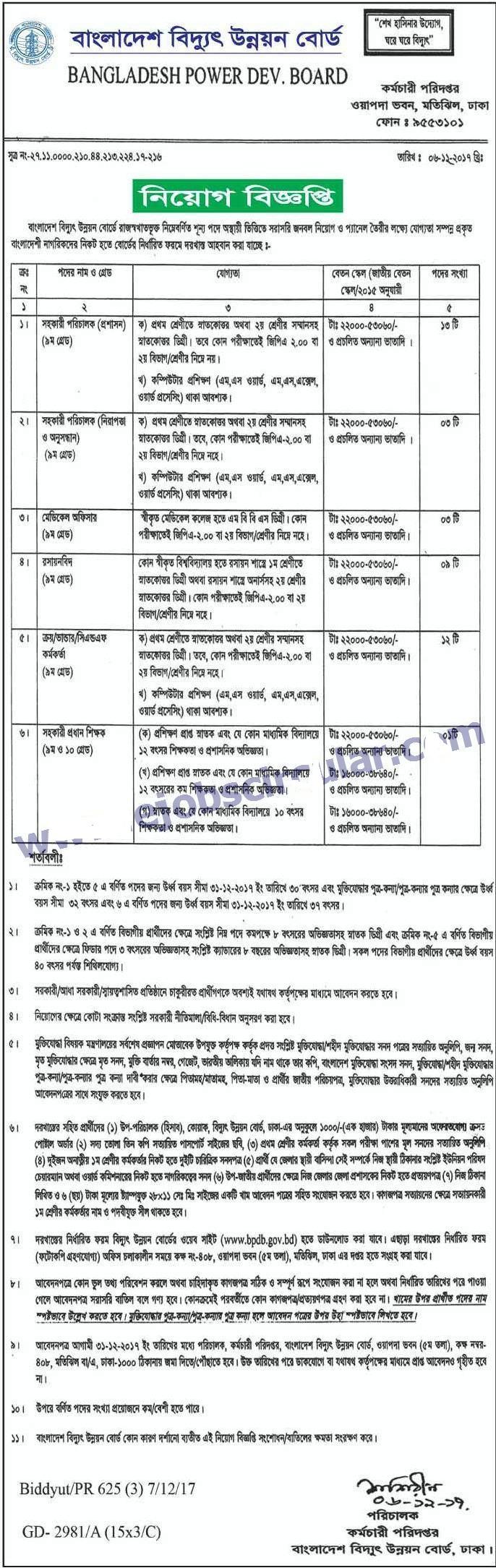 Bangladesh Power Development Board BPDB Job circular 2017