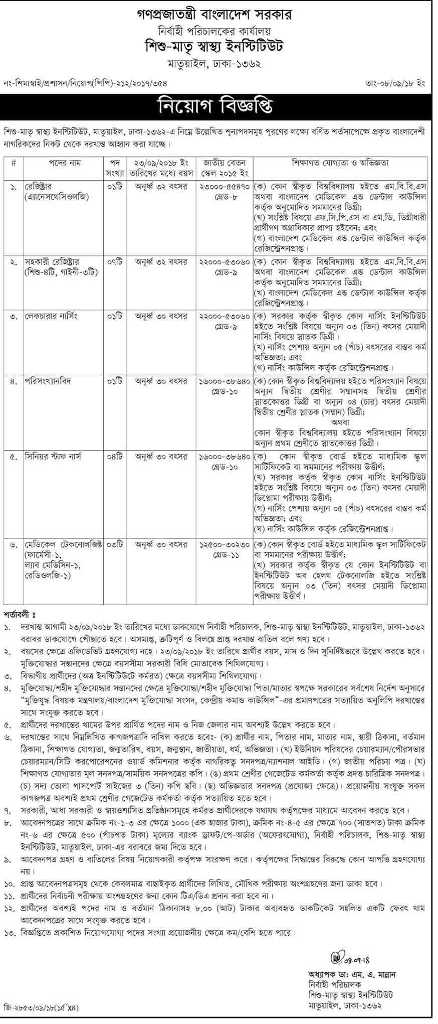 Child-Mother-Health-Institute-Job-Circular-2018