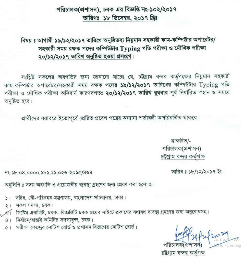 Chittagong Port Authority CPA job Written Exam Result – www.cpa.gov.bd