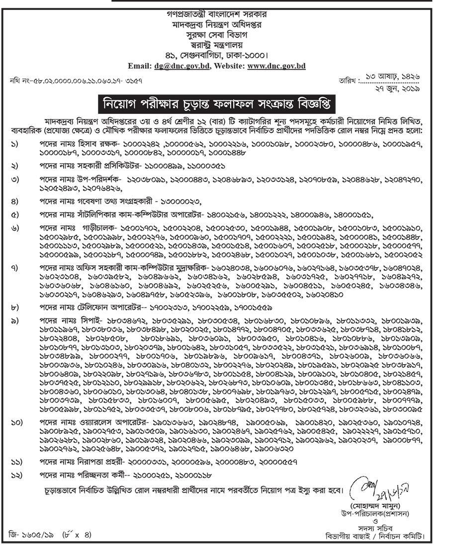 Department of Narcotics Control Exam Notice 2019