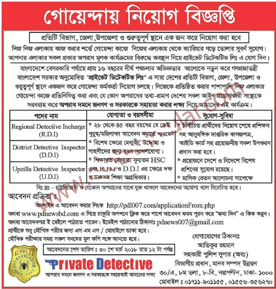 Directorate Of Customs Intelligence And Investigation Cid Job Circular 2018