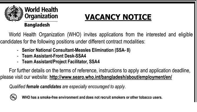 World Health Organization Job Circular 2018