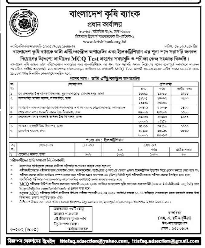 Bangladesh Krishi Bank Job Exam Schedule 2018