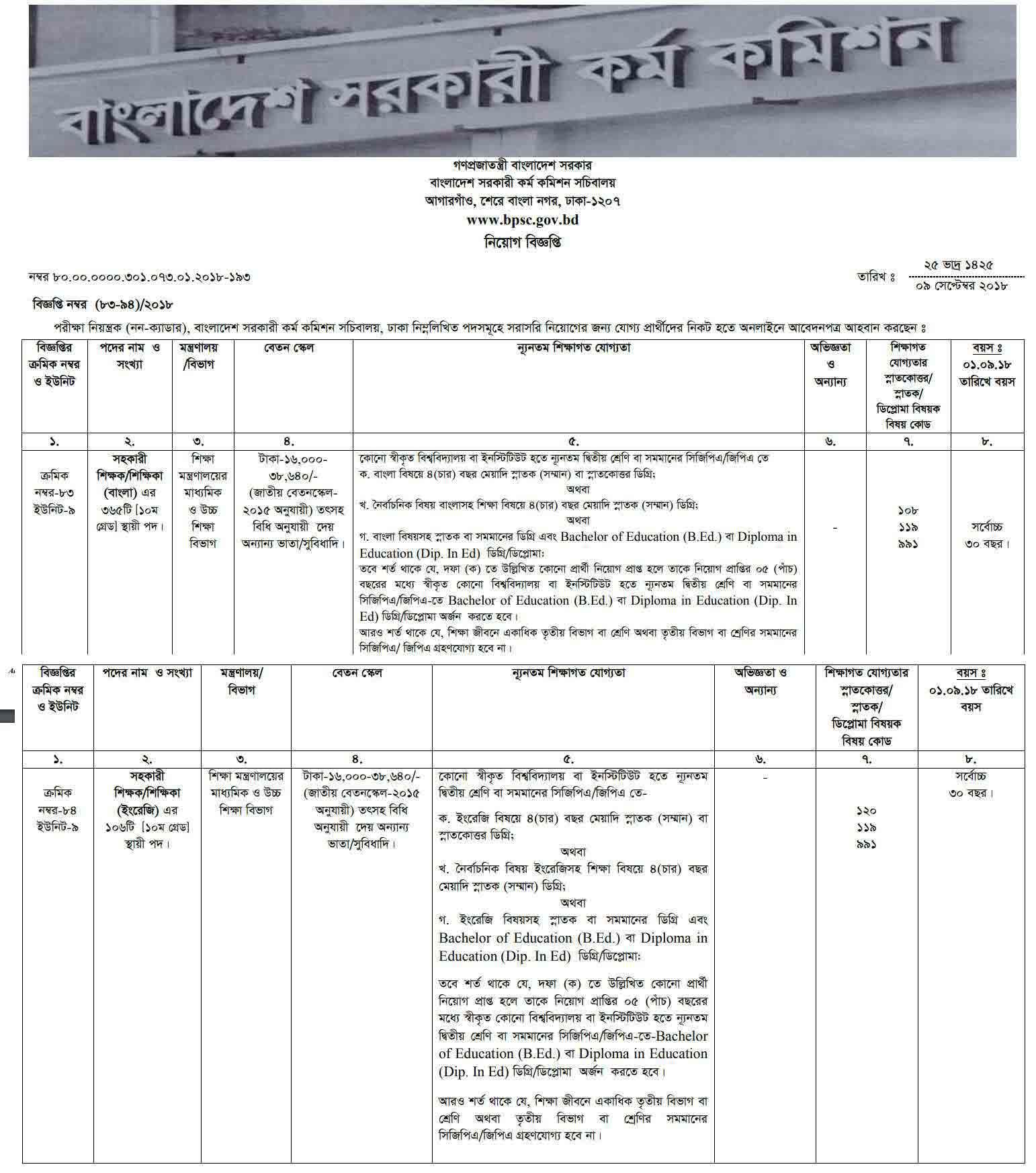 Bangladesh-Public-Service-Commission-BPSC-Job-Circular 2018