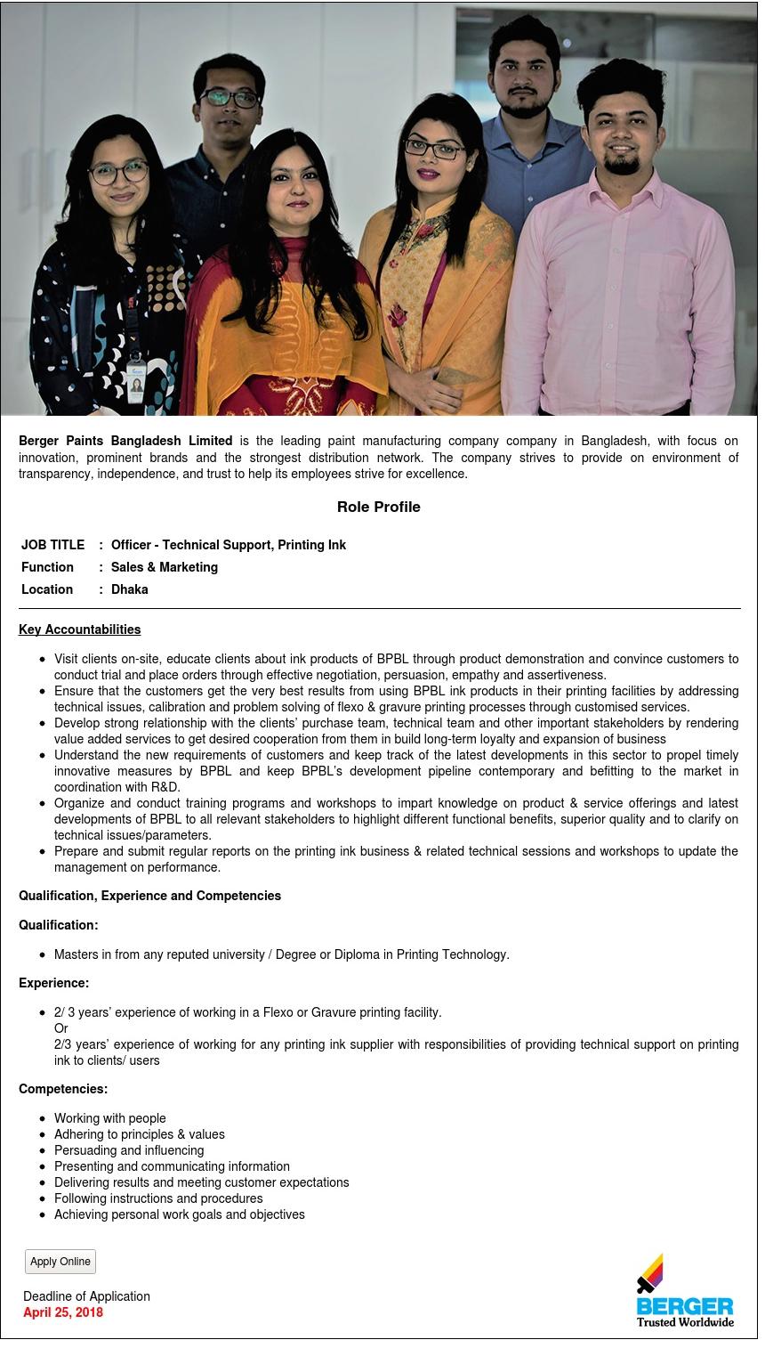 Berger Paints Bangladesh Job Circular 2018