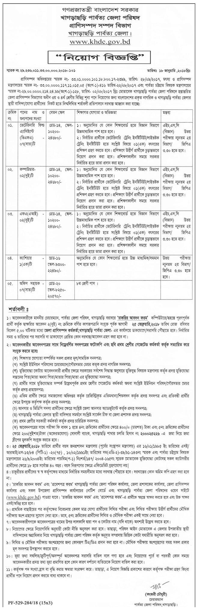 District Council Job Circular 2018