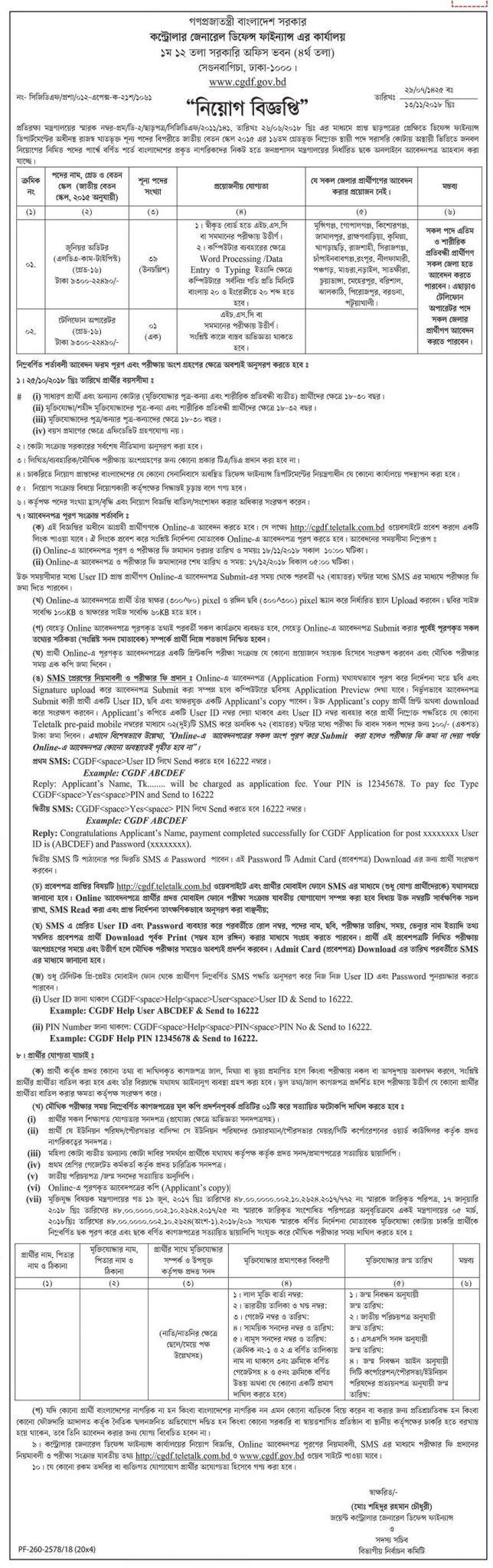 Office of the Controller General of Accounts-CGA Job Circular 2018