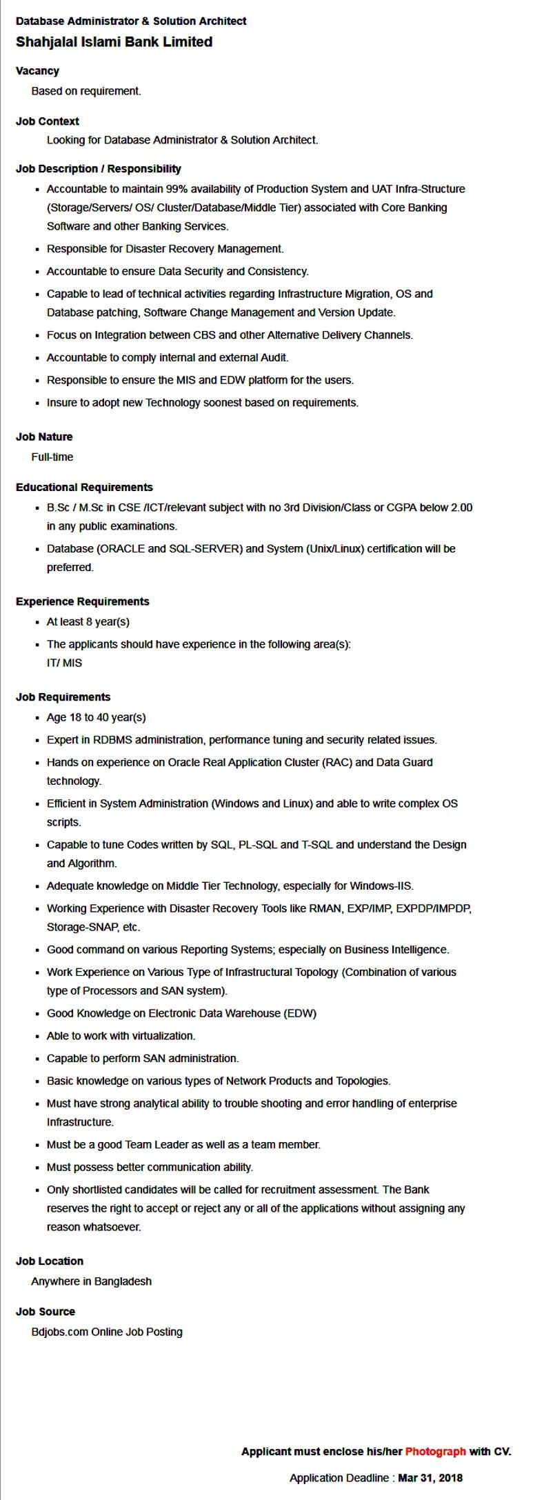 SJIBL Job Circular 2018