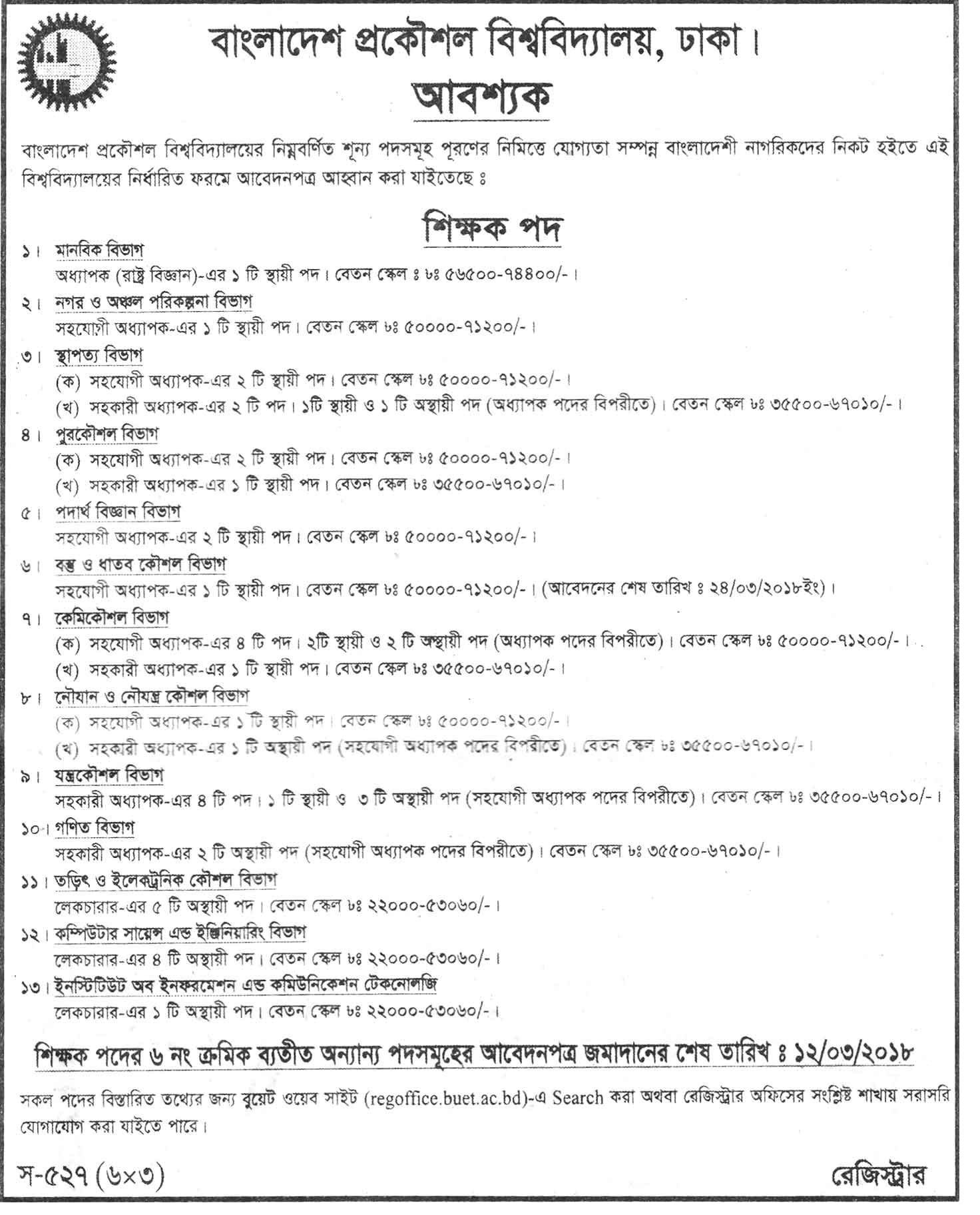 BUET Job Circular 2017