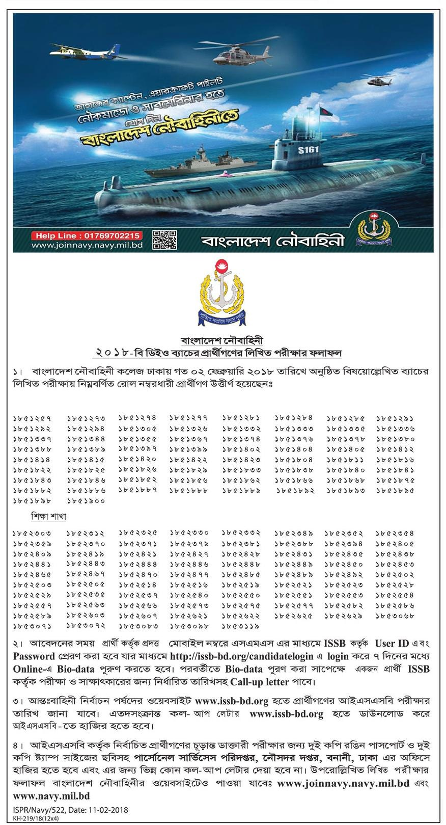 Bangladesh Navy Jobs Exam Result 2018