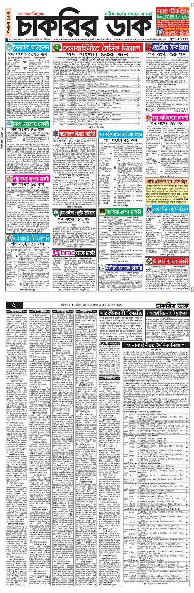 Chakrir Dak Weekly Jobs Newspaper 2018