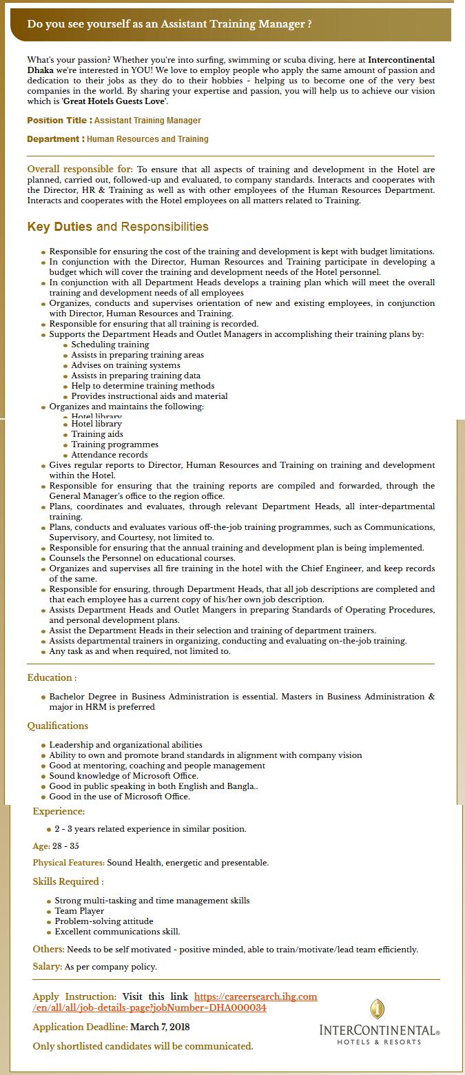 Intercontinental Hotel and Resort Job Circular 2018
