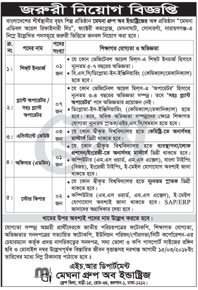 Meghna Group Job Circular 2018