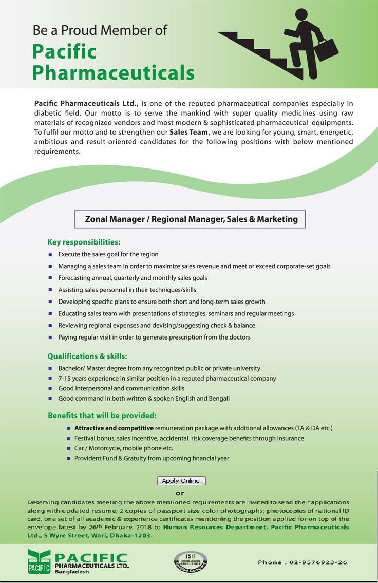 Pacific Pharmaceuticals Ltd  Job circular 2018| BD Jobs Careers