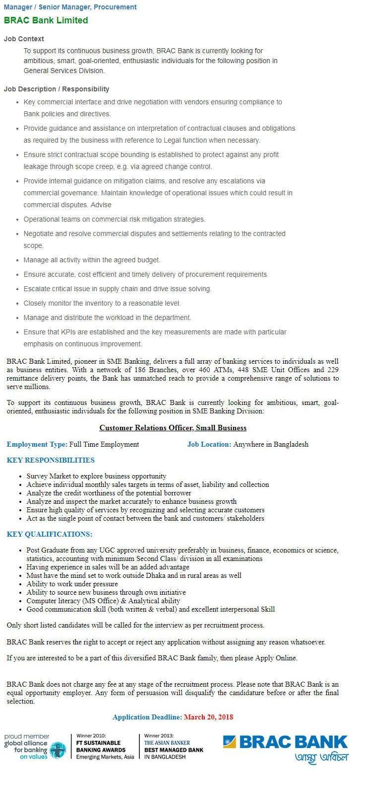 BRAC Bank Job Circular In 2018