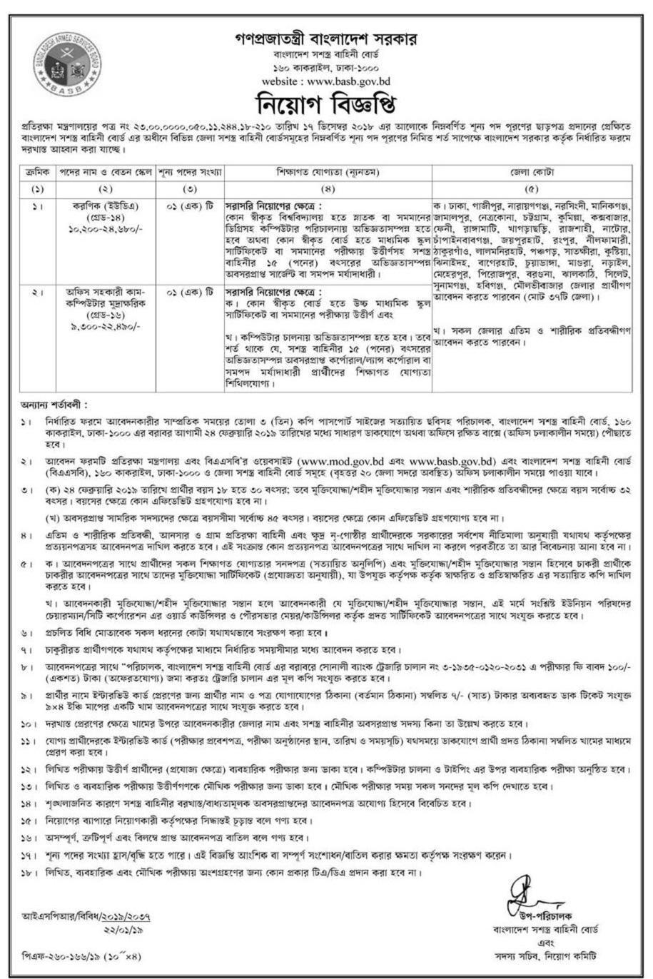 Bangladesh Armed Forces Board Job Circular 201