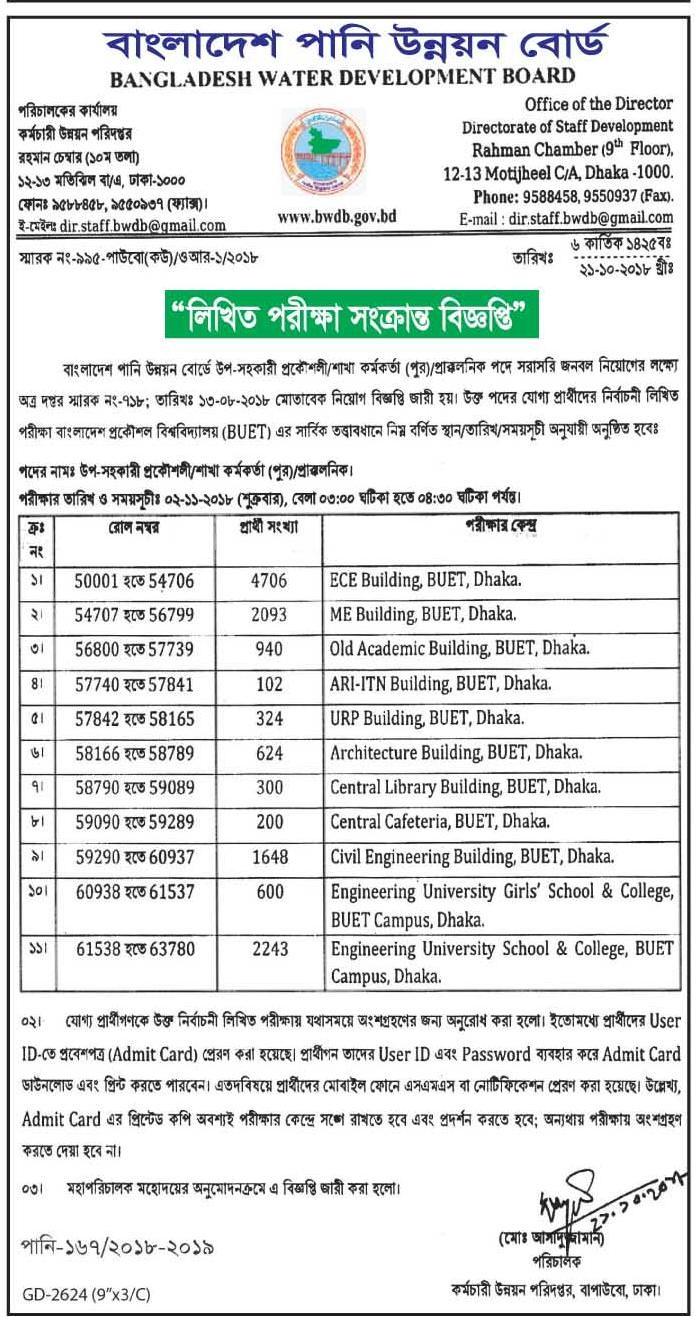 Bangladesh Water Development Board Viva Exam Schedule 2018