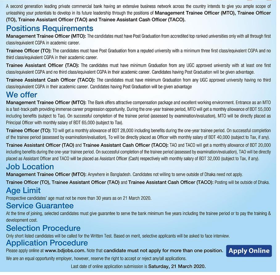 Dhaka Bank Job Circular 2020