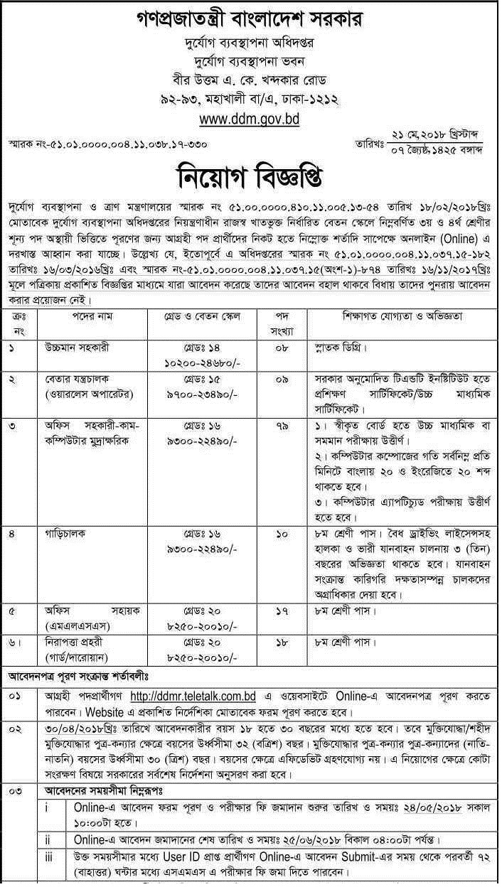 Disaster Management Department Job Circular 2018